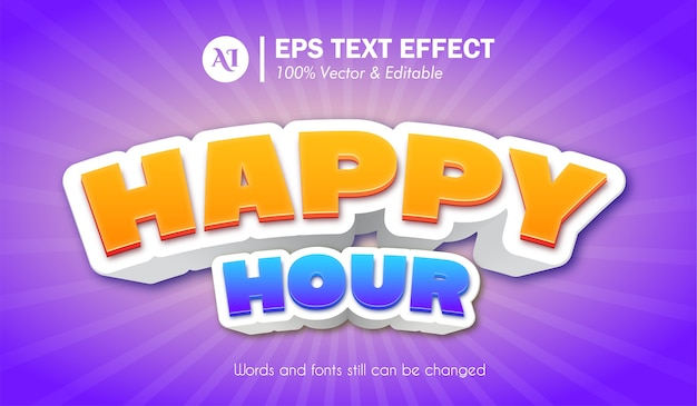 Happy hour 3d text effect