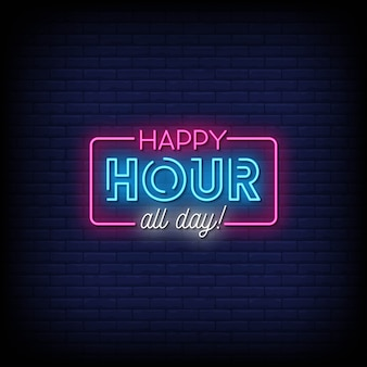 Happy hour all day neon signs style text
