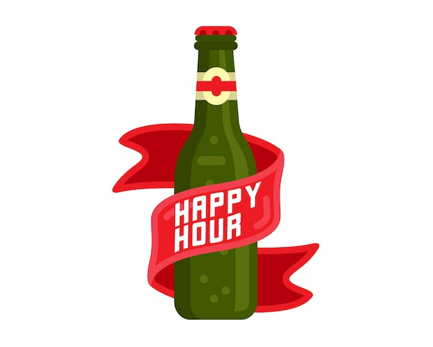 Happy hour beer bottle vector illustration