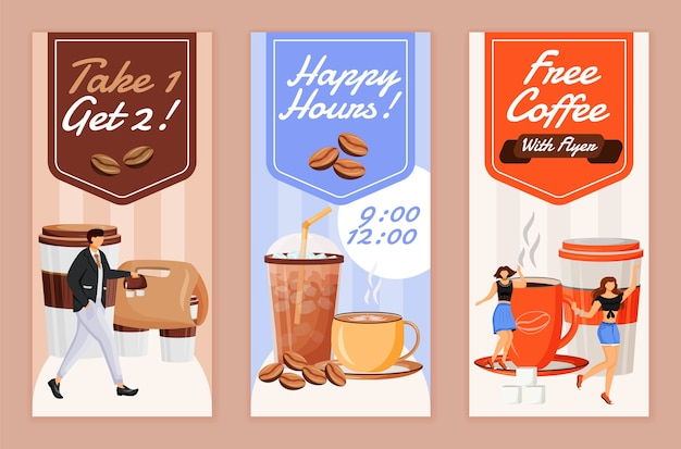 Happy hour for coffee flyers flat templates set. printable leaflet design layout. take 1 drink, get 2. cafe coupon. free cappuccino advertising web vertical banner, social media stories