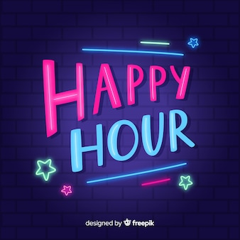 Happy hour font with neon lights