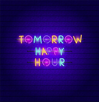 Happy hour fonts neon lights