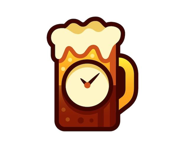 Happy hour glass of beer vector illustration