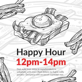 Счастливый час в кафе или бистро со скидкой на бутерброд