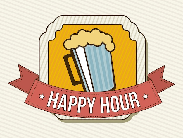 Happy hour label over beige background vector illustration