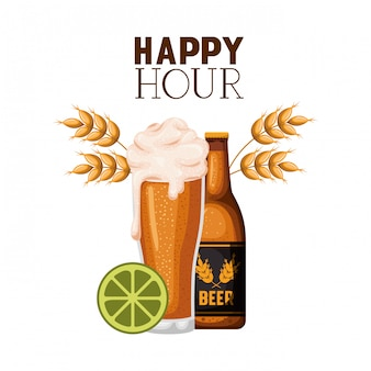 Happy hour label with beer isolated icon