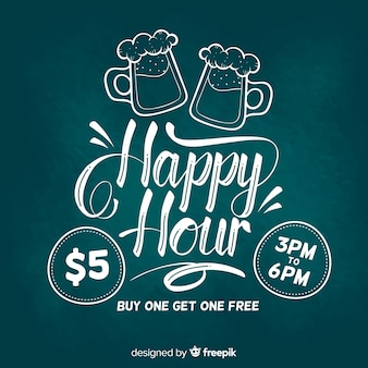 Happy hour lettering banner on chalkboard