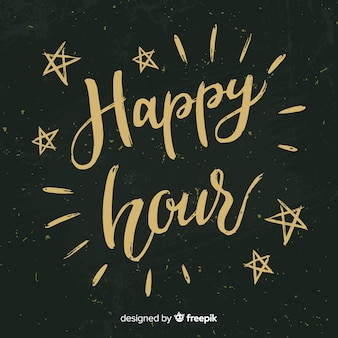 Happy hour lettering on chalkboard