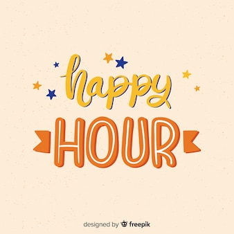 Happy hour lettering with small stars
