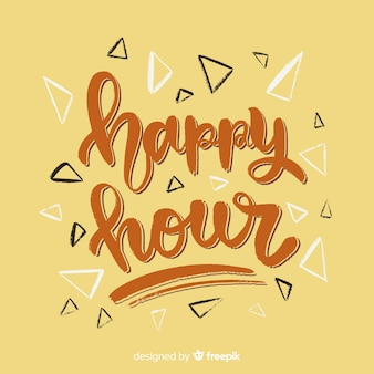 Happy hour lettering with yellow background