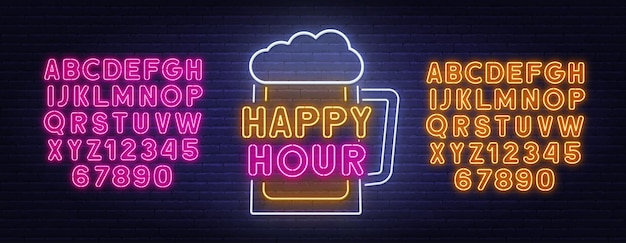 Happy hour neon sign on brick wall background.