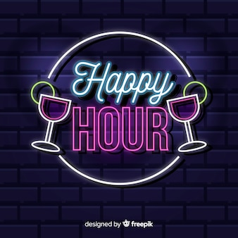 Happy hour neon sign with cocktails