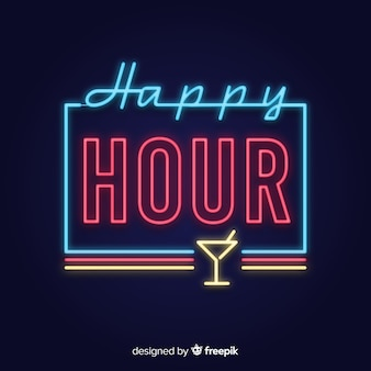 Happy hour neon sign with glass cup