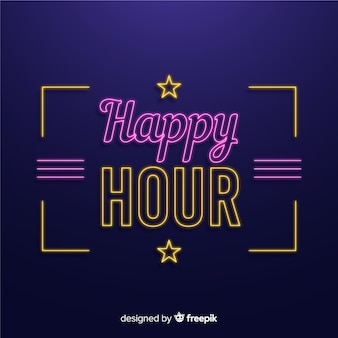 Happy hour neon sign with stars