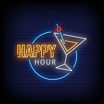 Happy hour neon signboard on brick wall