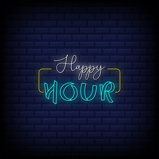 Happy hour neon signs style text design on abstract blue bricks background