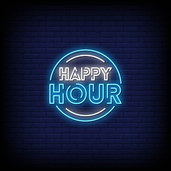 Happy hour neon signs style text