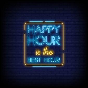 Happy hour neon signs text style