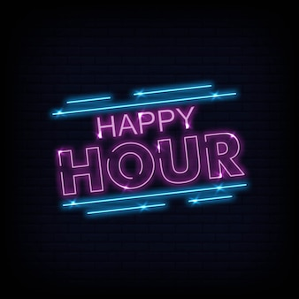 Happy hour neon text vector