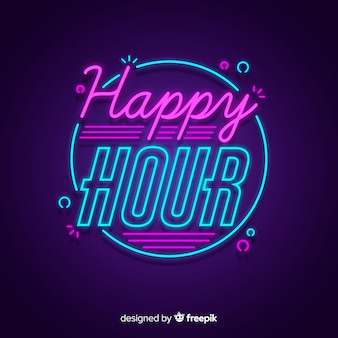 Happy hour offer with neon sign