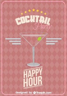 Happy hour party poster with cocktail glass