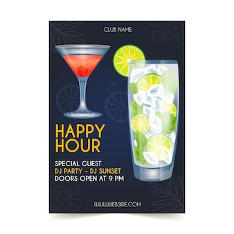 Modello di poster happy hour