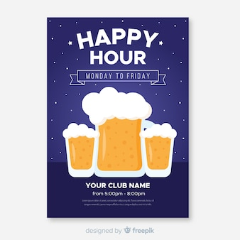 Happy hour poster with beer mugs