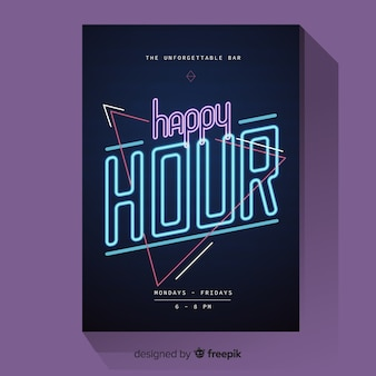 Happy hour poster with neon light
