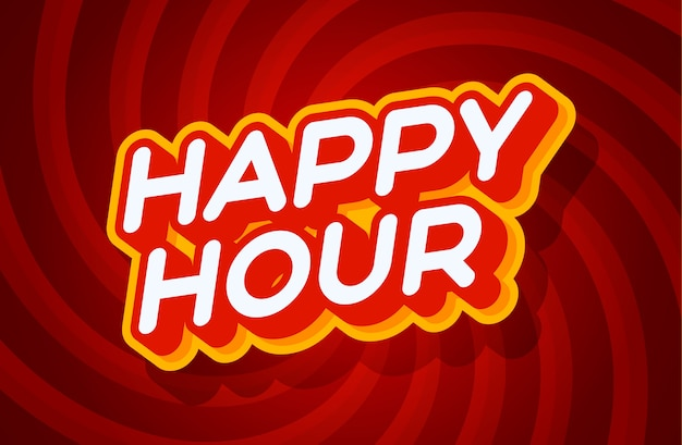 Happy hour red and yellow text effect template with 3d type style