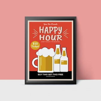 Happy hour template with beer mug and bottles for web, poster, flyer, invitation to party in orange and golden colors.