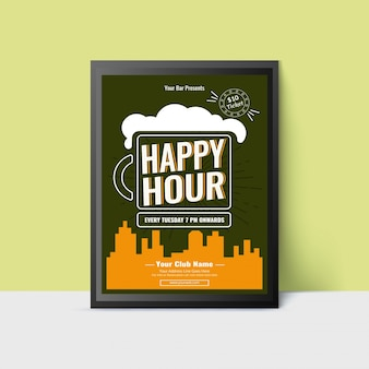 Happy hour template with beer mug for web, poster, flyer, invitation to party in teal and yellow color.