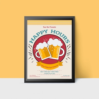 Happy hour template with beer mugs for web, poster, flyer, invitation to party. vintage style.