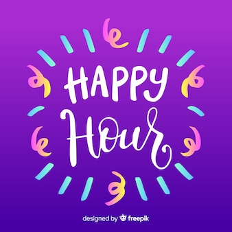 Happy hour white lettering