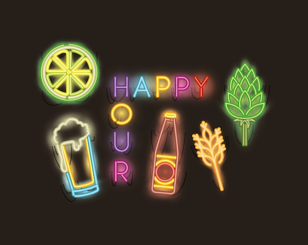 Happy hour with bar set icons fonts neon lights