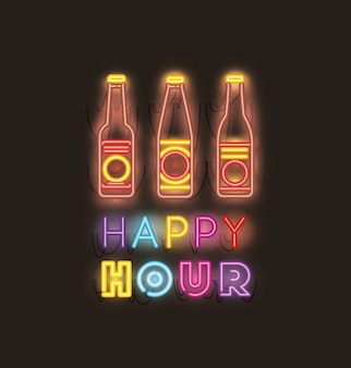 Happy hour with beer bottle fonts neon lights