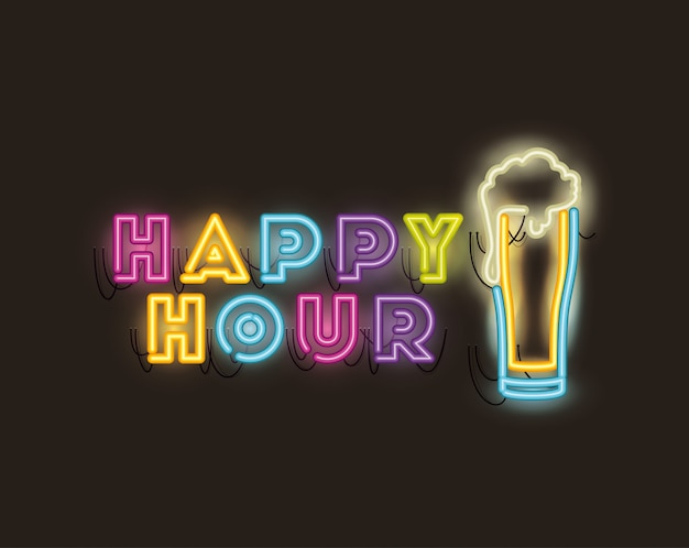 Happy hour with beer jar fonts neon lights