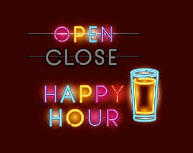 Happy hour with beer jar fonts neon lights