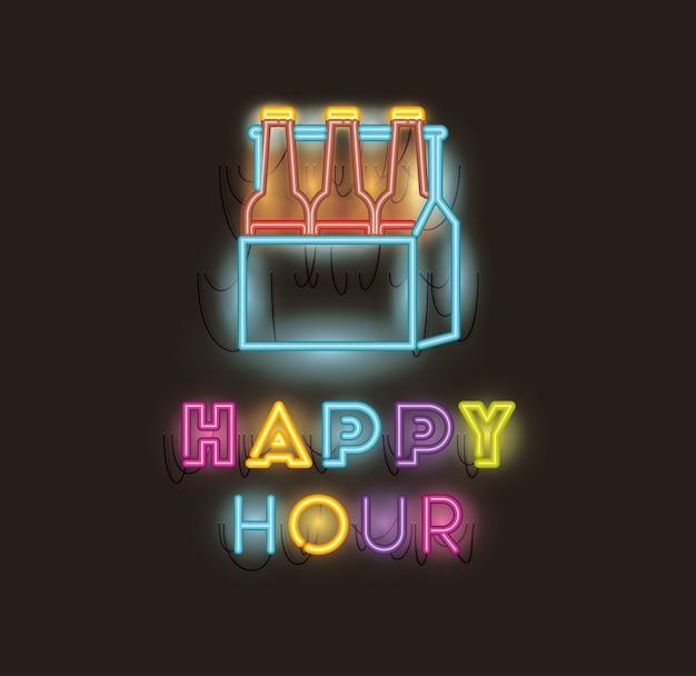 Happy hour with beers bottles in basket fonts neon lights