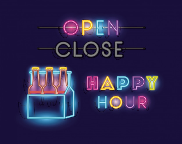 Happy hour with beers bottles in basket fonts neon lights