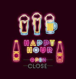 Happy hour with beers fonts neon lights