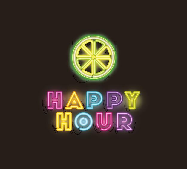 Happy hour with half lemon fonts neon lights