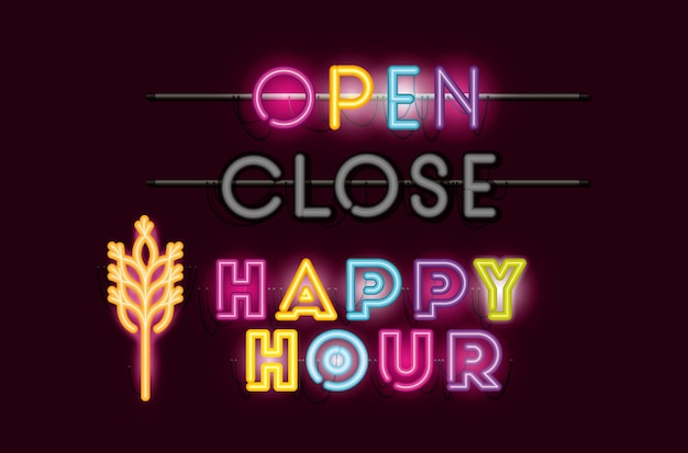 Happy hour with spike fonts neon lights
