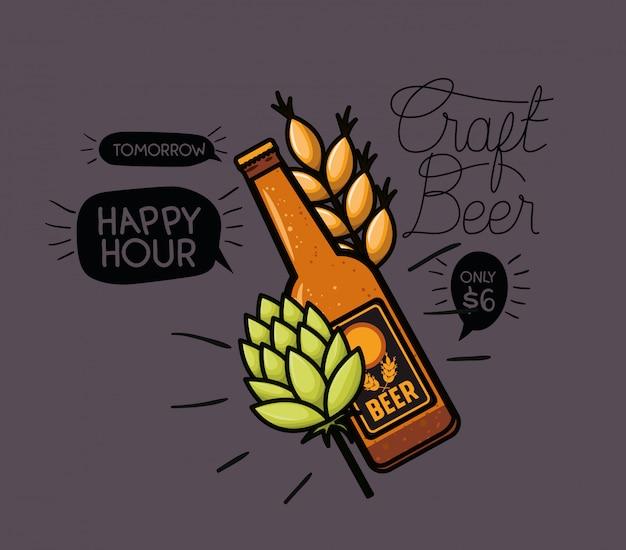 Этикетка пива happy hour с бутылкой и листьями