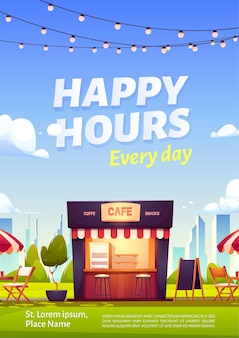 Happy hours ad poster with outdoor cafe with coffee and snacks