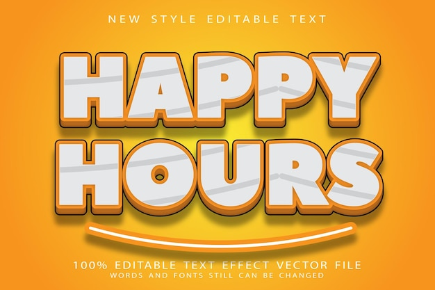 Happy hours editable text effect emboss modern style