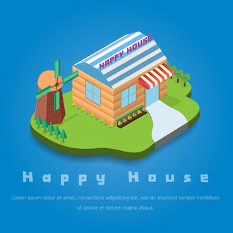 Happy house and  cute turbine