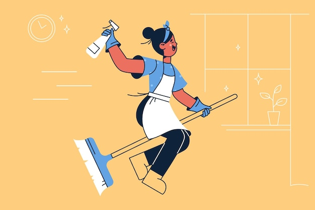 Happy housewife on broom illustration