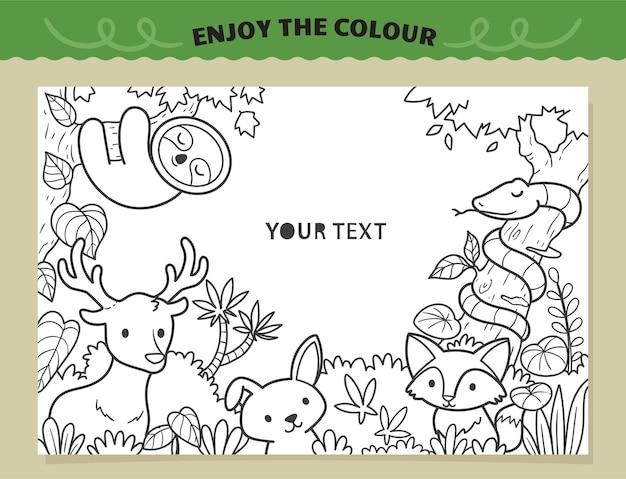 아이들을위한 정글 색칠에서 행복