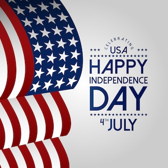 Happy independence day 4th july with usa waving flag