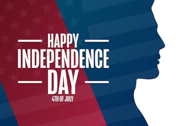 Счастливого дня независимости. 4 июля. концепция праздника. шаблон для фона, баннера, карты, плаката с текстовой надписью. векторная иллюстрация eps10.